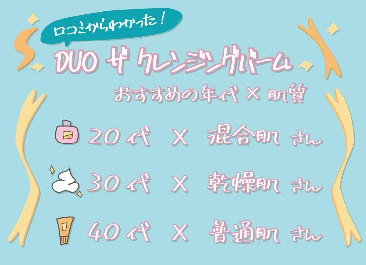 DUO-口コミ年代肌質別のおすすめ一覧